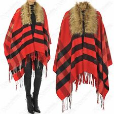 LADIES RED CHECK FAUX FUR COLLAR CAPE FRINGE BLANKET SHAWL WOMENS COAT PONCHO