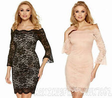 Off Shoulder Lace Applique Fitted Sexy Women Mini Dress Evening Cocktail Party