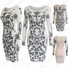 NEW LADIES FLORAL PRINT MESH DRESS WOMENS MESH MIDI SHEER LACE BODYCON TOP