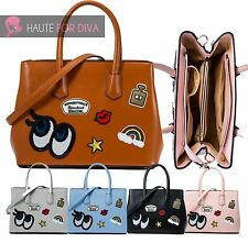 Ladies New Tote Bag Handbag Iron On Patch Shoulder Purse Patent Leather