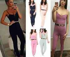 Womens Ladies Celeb Inspired Gold Belted Strappy All In One Playsuit Jumpsuit