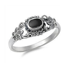 Fine Men 8mm 925 Sterling Silver Simulated Black Onyx Vintage Style Ring Band