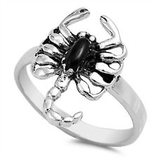 Fine Men Women 18mm 925 Sterling Silver Simulated Black Onyx Scorpion Ring Band