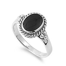Fine Men 13mm 925 Sterling Silver Simulated Black Onyx Ring Band