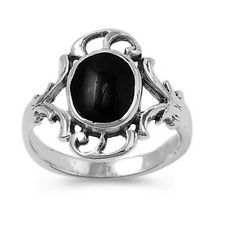 Fine Women 16mm 925 Sterling Silver Simulated Black Onyx Ladies Ring Band