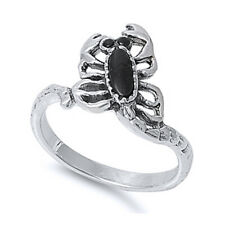 Fine Men Women 13mm 925 Sterling Silver Simulated Black Onyx Scorpion Ring Band