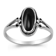 Fine Women 13mm 925 Sterling Silver Simulated Black Onyx Ladies Ring Band