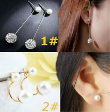 Beautiful Pearl Silver Plated Crystal Earrings Exquisite Jewelry For Women F1