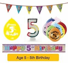 AGE 5 - Happy 5th Birthday Party Balloons, Banners & Decorations