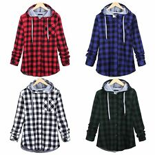 Unisex Plaid T-Shirt Hi-Street Loose Hoodie Hipster Casual Swag Outwear Chemise