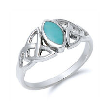 Men Women 9mm 925 Silver Marquise Turquoise Celtic Knot Vintage Style Ring Band