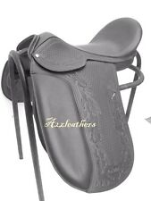 Black Dressage Treeless Saddle with carving & tooling in 9 size with accessories