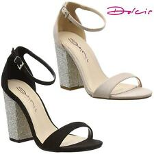 Womens Ladies Block High Heel Fancy Sandals New Ankle Strappy Fashion Shoes Size