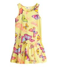 GIRLS YELLOW DRESS WITH BUTTERFLY PRINT IN AGE 2-4 YEARS BNWT