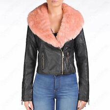 WOMENS BLACK PU BIKER PINK FAUX FUR COLLAR JACKET CROP LADIES LEATHER PVC BOMBER