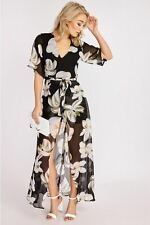 Fashion Designed Serenity Black Floral Maxi Overplay Playsuit Dress For Ladies