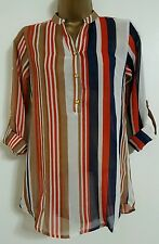 NEW Next Size 10-16 Striped Colour Block Orange White Blue Top Blouse Shirt