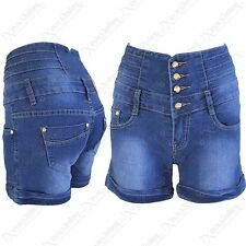 NEW LADIES HIGH WAISTED DENIM HOT PANTS WOMENS BLUE JEANS SHORTS BUTTON UP JEAN