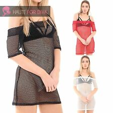 Ladies New Off Shoulder Fishnet Tunic Layer Top Mini Dress Sexy Glam Urban Tee