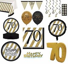 BLACK & GOLD Age 70 - Happy 70th Birthday Bday PARTY ITEMS Decorations Tableware