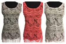 Womens Fashion Delicate Crocheted Lace Hollow Out Embroider Sleeveless vest tops