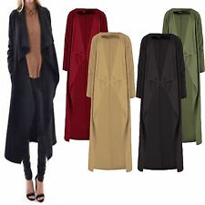 NEW LADIES WOMEN'S CREPE WATERFALL DUSTER CARDIGAN COAT