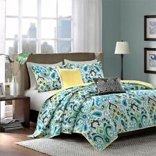 5pc Yellow & Teal Large Paisley Coverlet Quilt Set AND Decorative Pillows