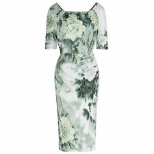 3/4 SLEEVE 40s GREEN FLORAL WIGGLE PENCIL COTTON VINTAGE COCKTAIL DRESS 8-18