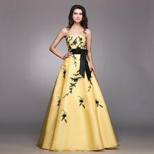 New Elegant Yellow Black Appliques Prom Party Dress Strapless Pageant Ball Gowns