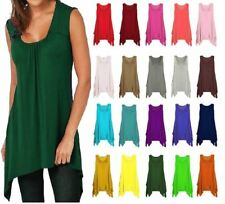 WOMENS NEW SCOOP NECK SLEEVELESS HANKY HEM FLARED TOP UK 8-26