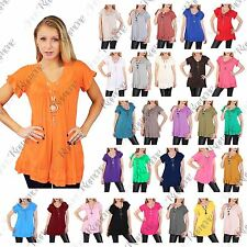 New Womens Plain Baggy Oversized Gypsy Loose Frill With Necklace Shirt Tunic Top