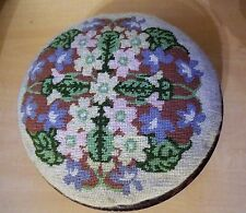 Victorian Footstool with Needlework Needlepoint Top and Bun Feet 1880s