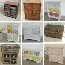 Distressed Small Drawer Cabinet Jewellery Box Wooden Storage Shabby Chic New