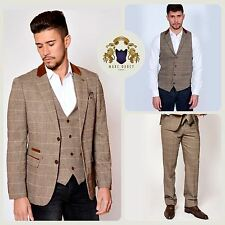 Mens Tweed Check Blazer Waistcoat Trousers 2/3 Piece Slim Fit Smart Jacket Pants