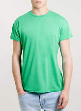MENS GREEN CREW NECK T-SHIRT WITH ROLL SLEEVES FROM TOPMAN SIZES S TO L BNWT