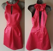 BNWT New LIPSY Ariana Grande Pink Satin Bow Back Halter Neck Dress 10, 12 or 14