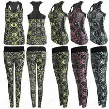 Donna ABSTRACT STAMPA Workout Fitness Sport Yoga Palestra Canotta Leggings 2 PZ