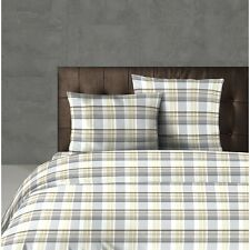 Design port Hartford pure cotton taupe and grey tartan check duvet cover