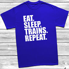 Eat. Sleep. Trains. Repeat. T Shirt Trainspotter Mens Children's Kids Tee