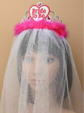 """Ladies Hen Party """"Bride To Be"""" Tiara With White Veil Accessory"""
