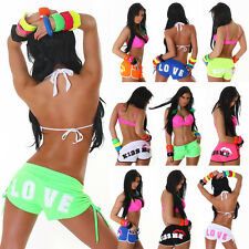 Sexy Sports Neon Shorts Trousers Print Kiss me Love Hot-Pants Leisure Summer