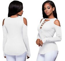 Women White Long Sleeve Cut-out Shoulder Ribbed Strappy Top Blouse T-shirt