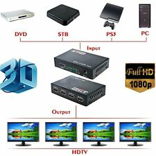 Full HD HDMI Splitter 1X4 Hub Repeater Amplifier v1.4 3D 1080p 1 in 4 out D3