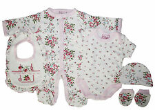 Baby Girls 5 Piece Floral Layette Gift Set; Sleepsuit, Bodysuit, Bib, Hat, Mitts