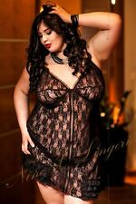 Nine X Womens Sexy Lace Babydoll Pus size Lingerie S-6XL Nightdress Black