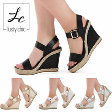 Ladies Womens High Wedge Heel Sandal Strappy Platform Ankle Strap Shoes Size 3-8