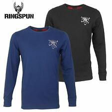 Mens Ringspun Long Sleeve Embroided Graphic Skull Crossbones T-Shirt Cotton Top