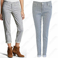 NUOVO DONNA RIGHE BIANCO JEANS PANTALONI DONNA ADERENTE BLU STRETCH DENIM LOOK