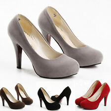 ladies platform faux suede Career Pumps Fashion High Heels Womens Shoes size