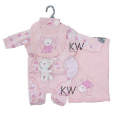 Baby Girls 7 Piece Net Bag Layette Gift Set with Teddy Toy (Newborn - 6 Months)